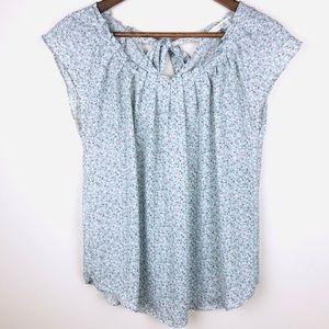 LC Lauren Conrad Floral Print Blouse with Tie Back
